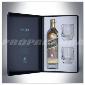 JOHNNIE WALKER BLUE LABEL WHISKY 0,7L + 2 SZKLANKI