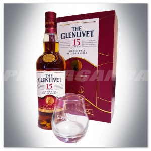 THE GLENLIVET 15YO WHISKY SINGLE MALT 0,7L + SZKLANKI