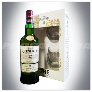 THE GLENLIVET 12YO WHISKY SINGLE MALT 0,7L + 2 SZKLANKI